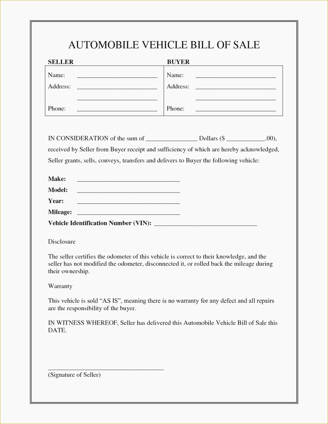 free printable bill of sale form sample documents::Car Bill of Sale Form Template Printable