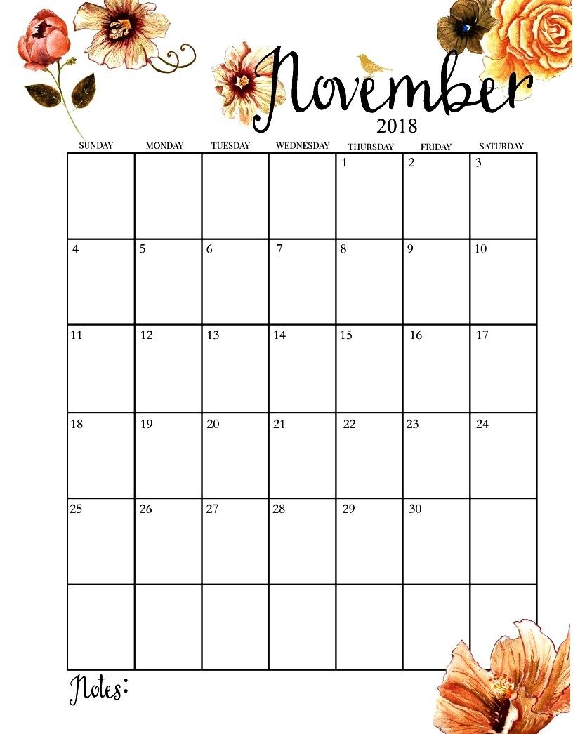 free printable calendar november 2018 template printable calendar::November 2018 Calendar Printable Template