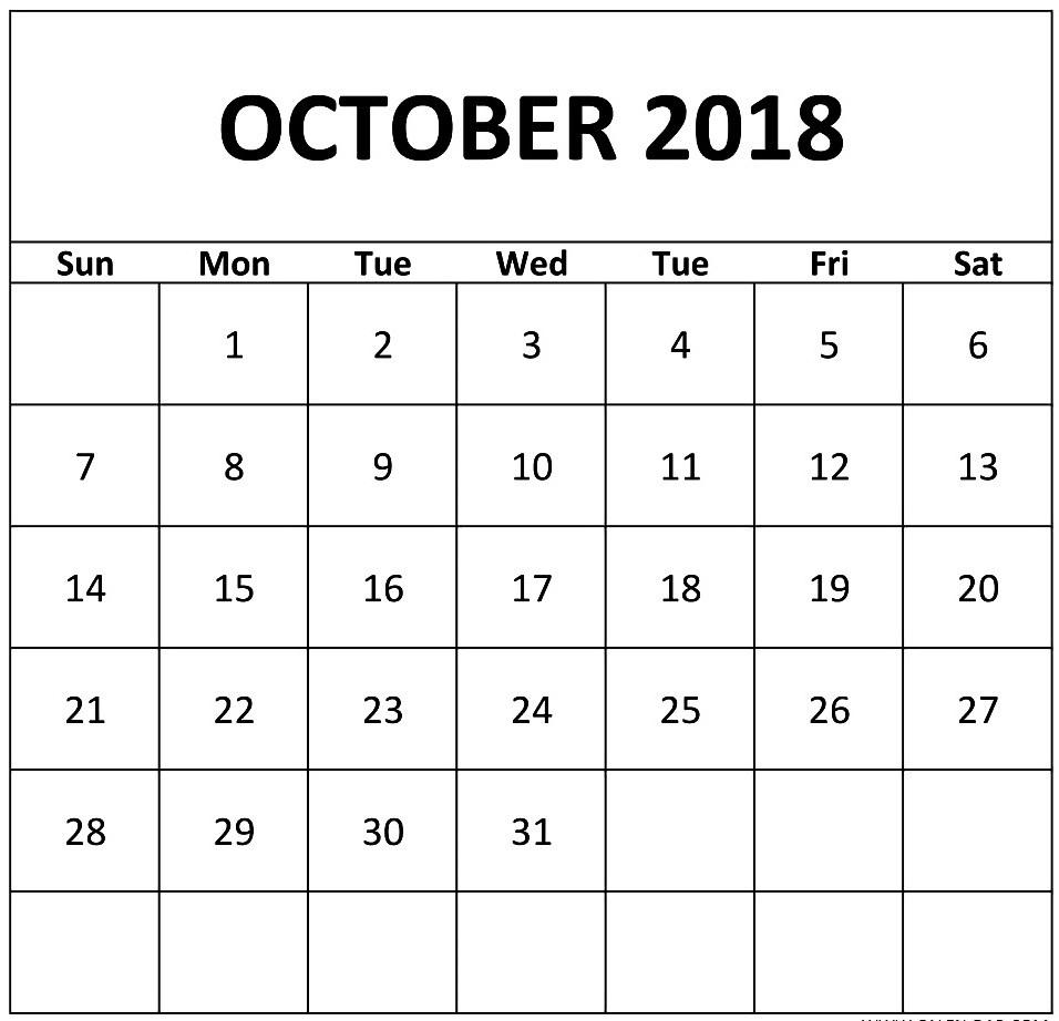 free printable calendar october 2018 4 letter calendar Calendar October 2018 Printables erdferdf