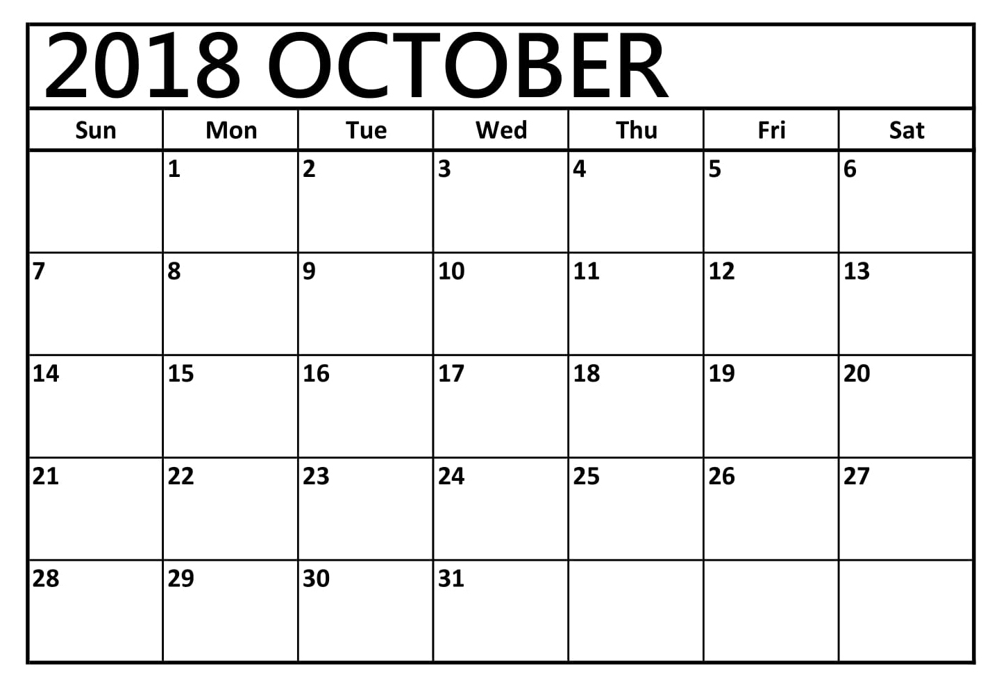 free printable calendar october 2018 monthly paper worksheets Calendar October 2018 Printables erdferdf