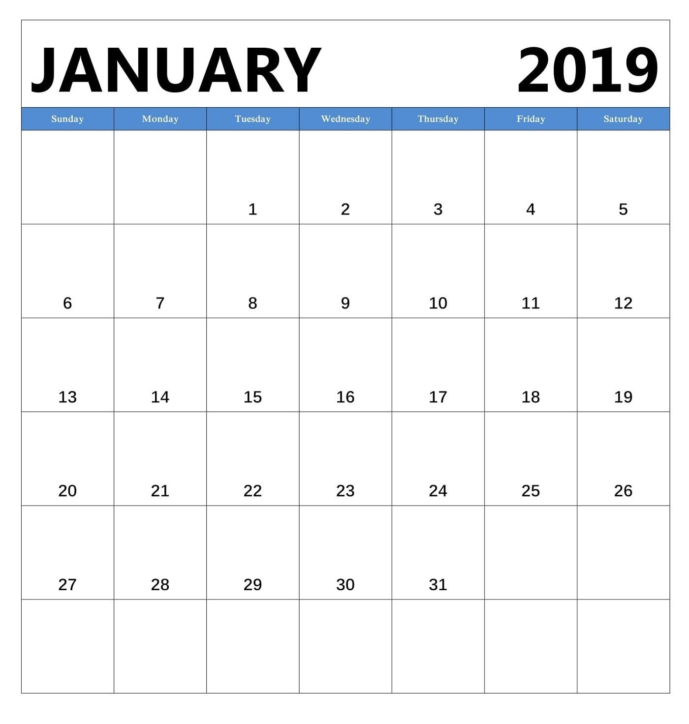 free printable january 2019 calendar calendar 2019::January 2019 Calendar Portrait
