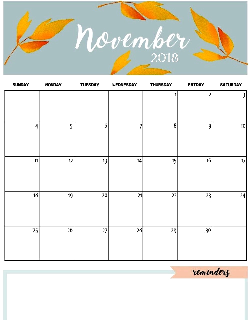 free printable november 2018 calendar cute pdf template download::November 2018 Calendar Template