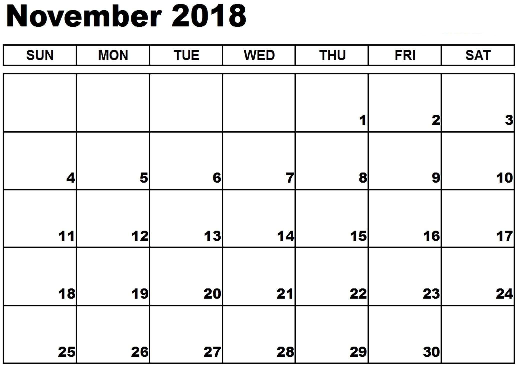 free printable november 2018 calendar usa pdf template download::November 2018 Calendar USA