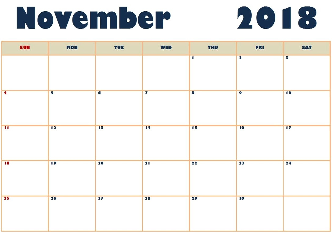 free printable november 2018 calendar word pdf template download::November 2018 Calendar Template