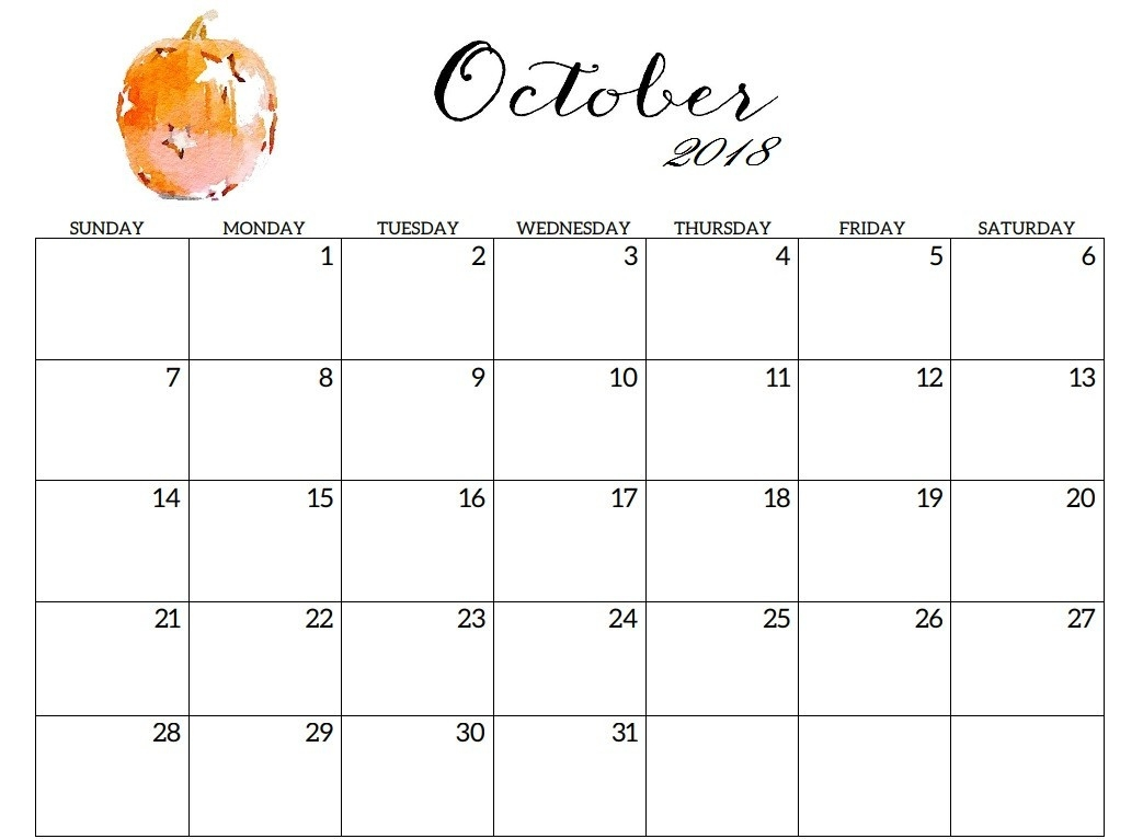 free printable october 2018 calendar excel printable calendar 2018 October 2018 Calendar Free erdferdf