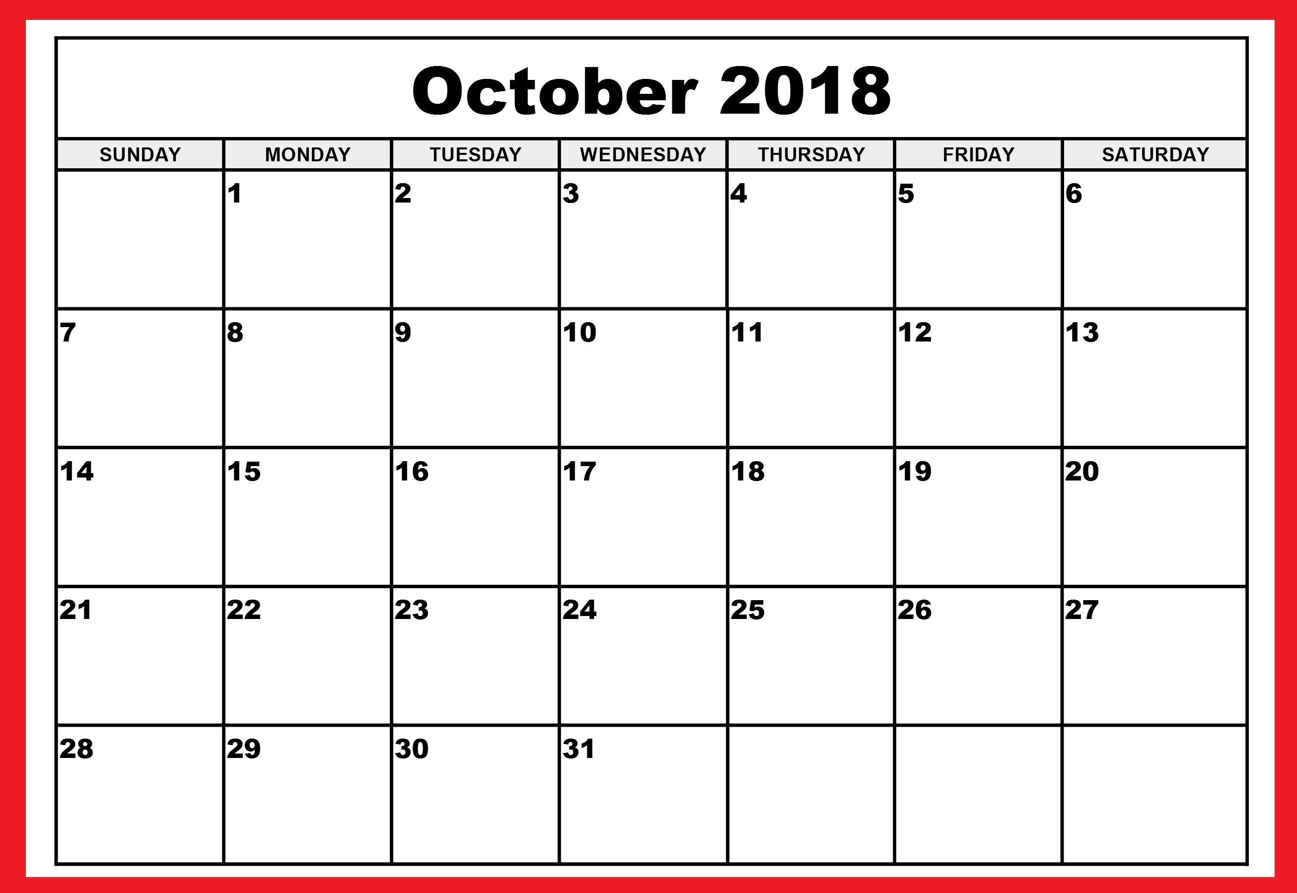 free printable october 2018 calendar printable calendar 2018 Printable October 2018 Calendar erdferdf