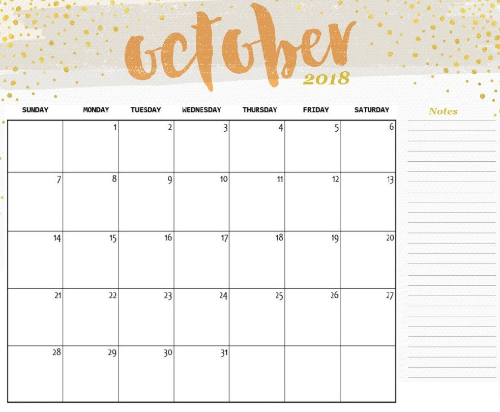 free printable october 2018 calendar with notes printable 2018 October 2018 Calendar Free erdferdf