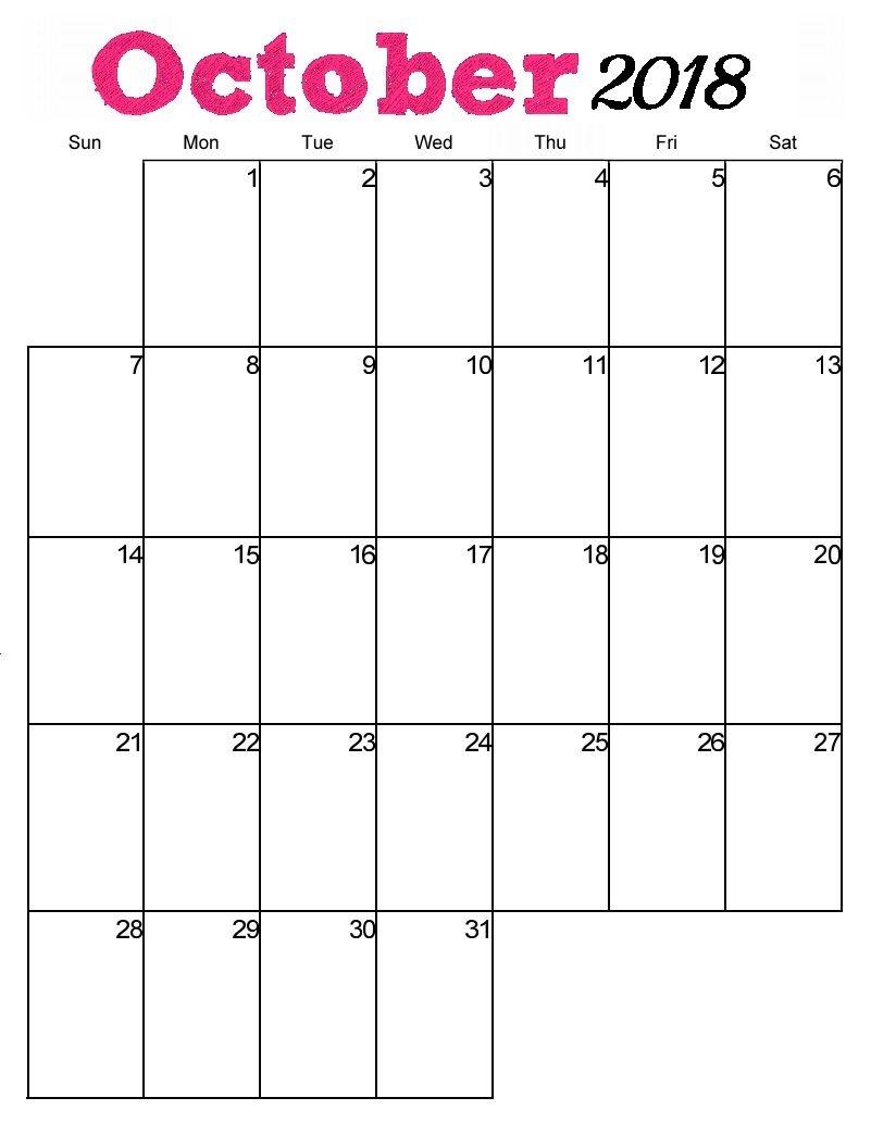free printable october 2018 vertical calendar maxcalendars Free October 2018 Calendar Word Document erdferdf