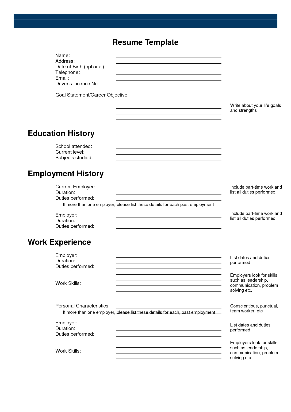 free printable resume template::Printable Resume CV Templates & Format Sample