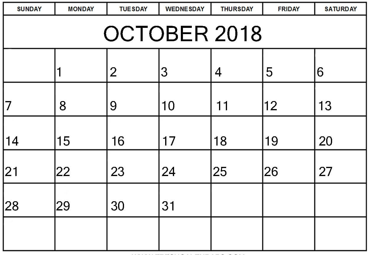 free template october 2018 calendar pdfexcelword october 2019 Free October 2018 Calendar Word Document erdferdf