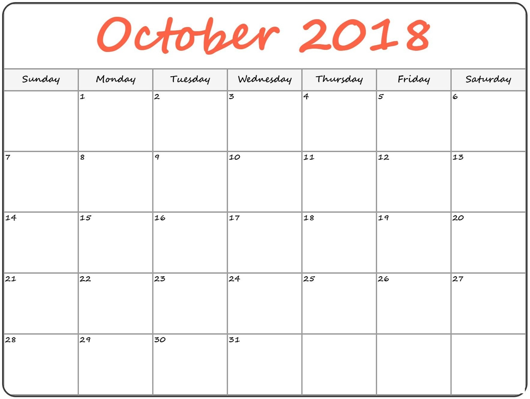 free template of october 2018 calendar july 2018 calendar October 2018 Calendar Printable Template erdferdf