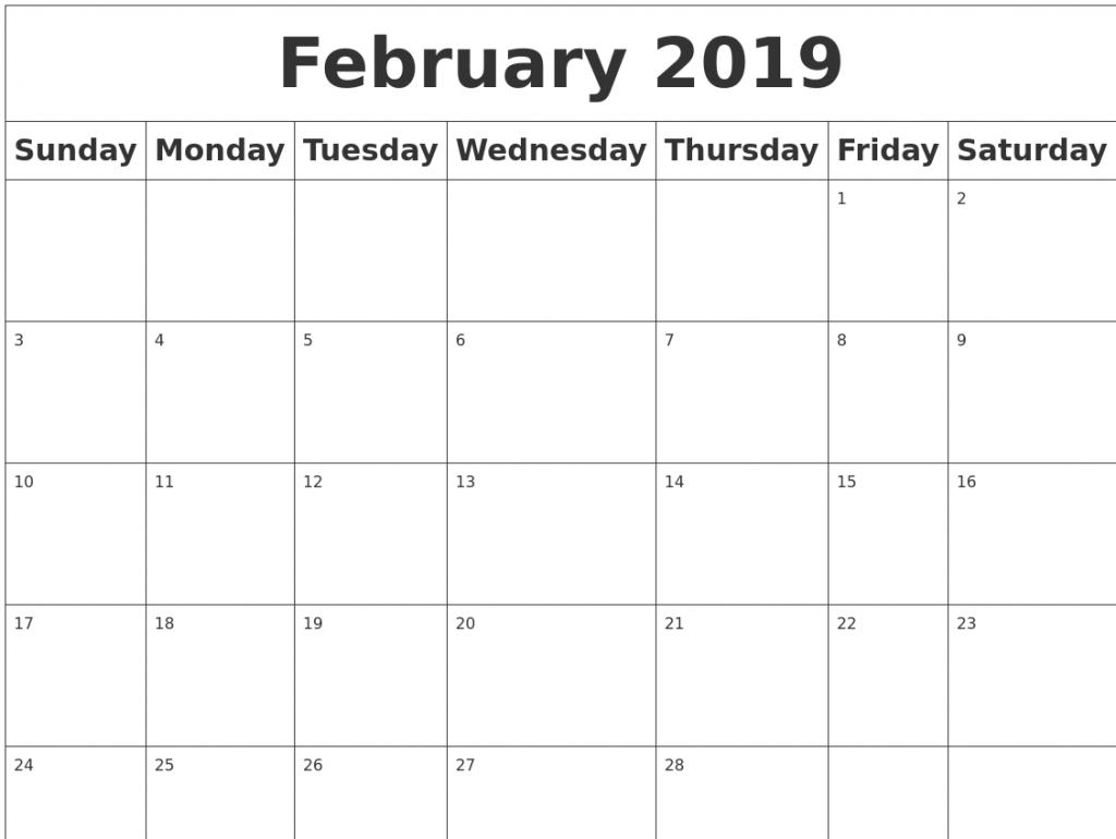 get february 2019 a4 free printable::February 2019 Calendar