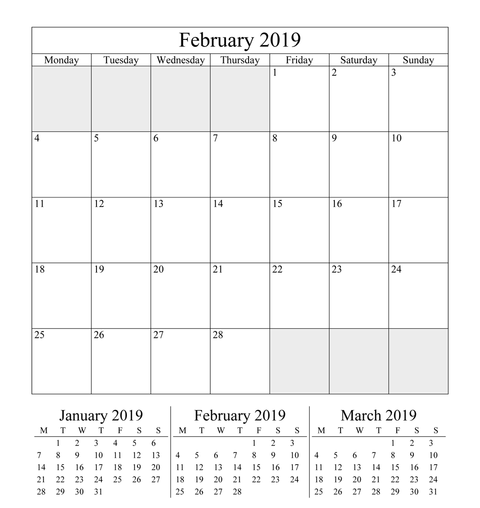 get february 2019 printable landscape portrait::February 2019 Calendar Australia