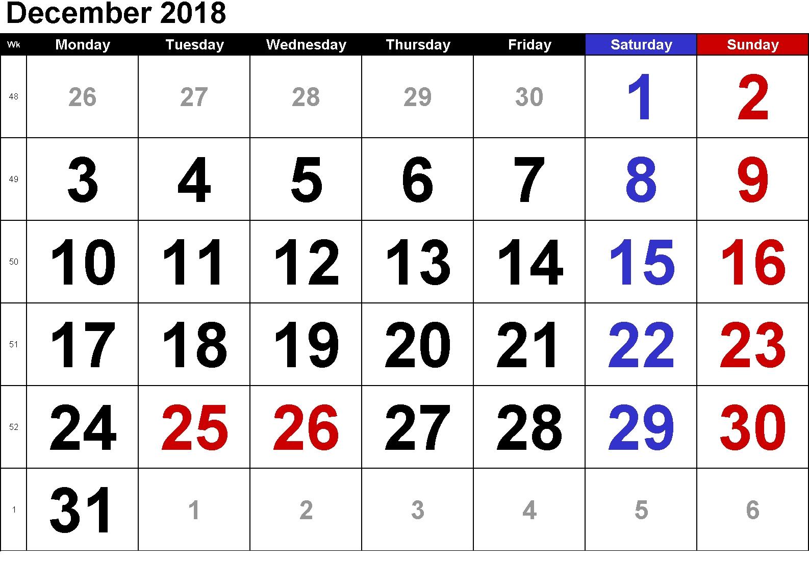get free 2018 december calendar printable templates november 2018::December 2018 Calendar Printable Template