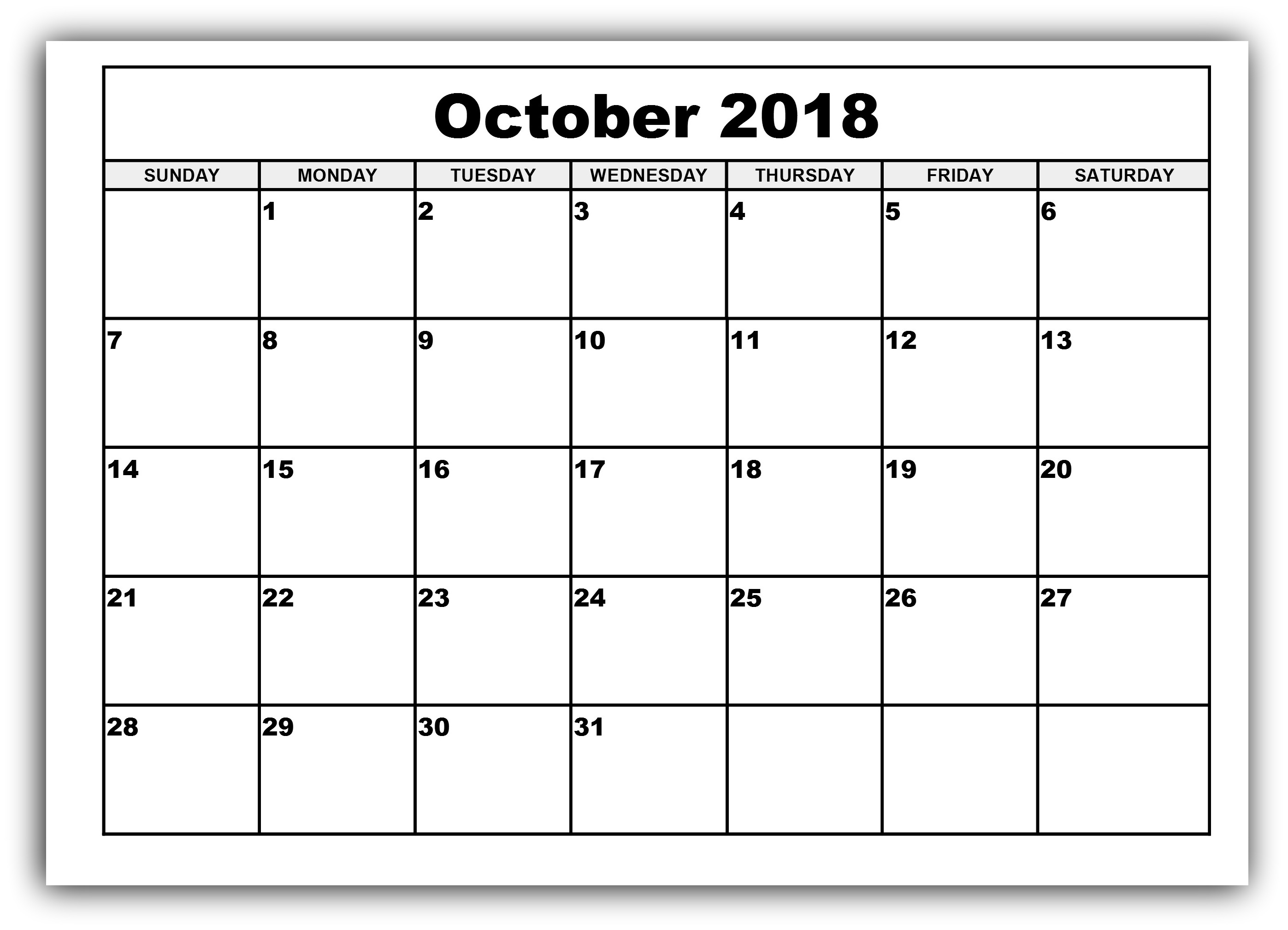 get october 2018 blank printable calendar templates april 2018 October 2018 Calendar Printable Template erdferdf