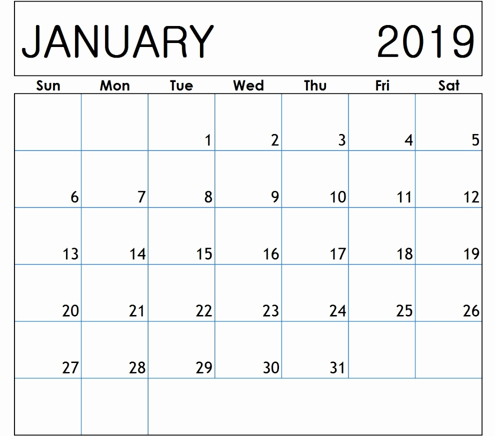 January 2019 Calendar Canada