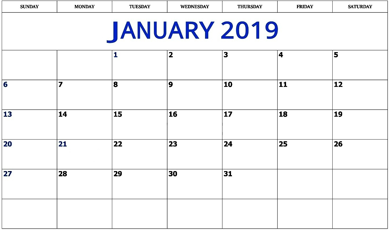january 2019 calendar excel template printable calendar 2018::January 2019 Calendar Excel