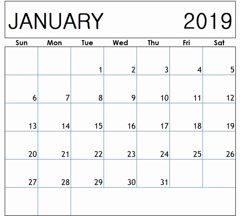 January 2019 Calendar with Holidays Printable