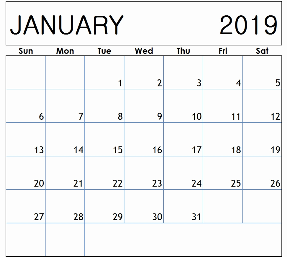 january 2019 calendar printable january 2019 calendar printable::January 2019 Calendar Templates
