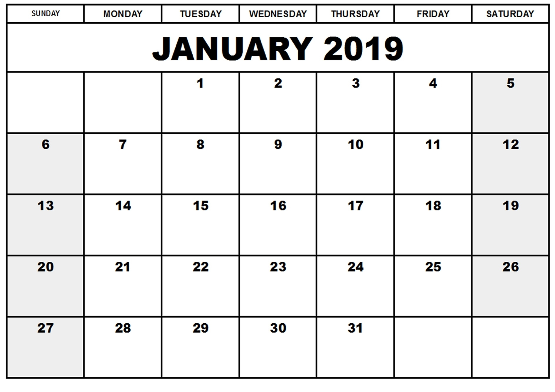 january 2019 calendar printable pdf excel word printable::January 2019 Calendar Word