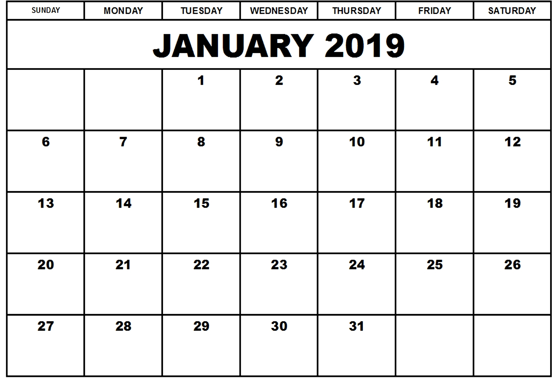 january 2019 calendar printable template calendar template letter::January 2019 Calendar Templates