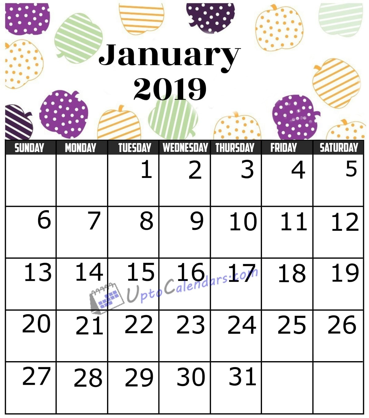 january 2019 calendar printable template with holidays pdf word::January 2019 Calendar Templates