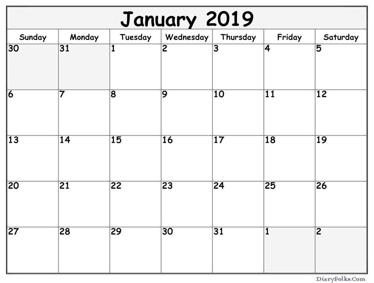 january 2019 calendar template letter calendar worksheets::January 2019 Calendar Printable Template USA UK Canada