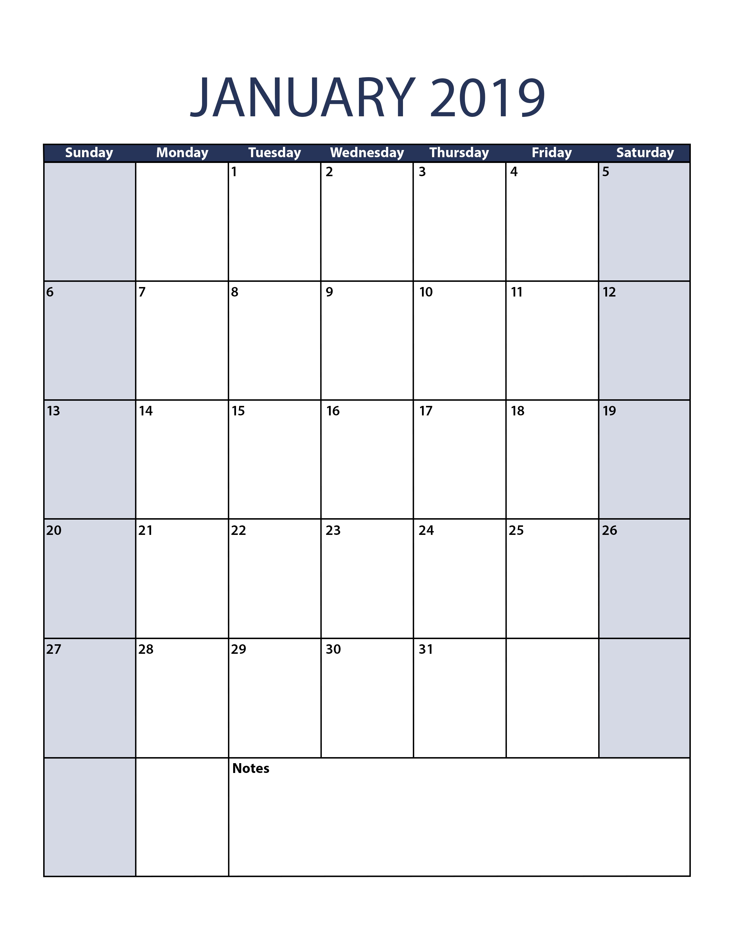 january 2019 calendar template::January 2019 Calendar Templates