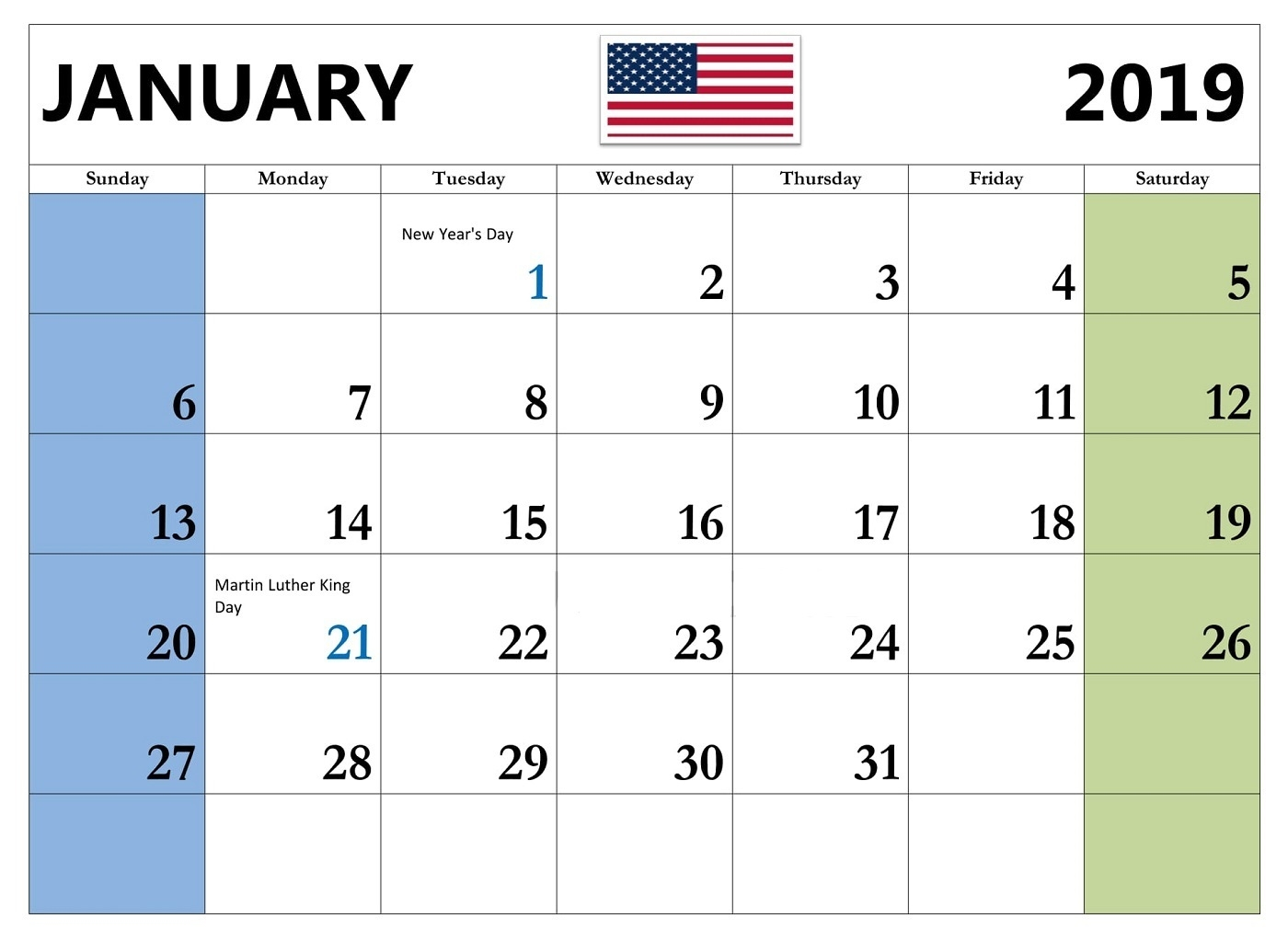 january 2019 calendar usa free printable word excel pdf::January 2019 Calendar USA