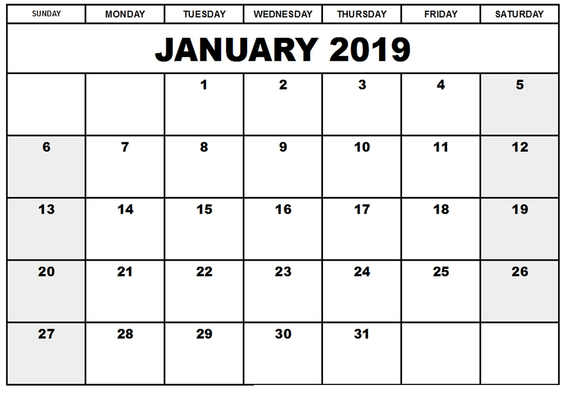 january 2019 calendar usa uk blank calendar 2019::January 2019 Calendar USA