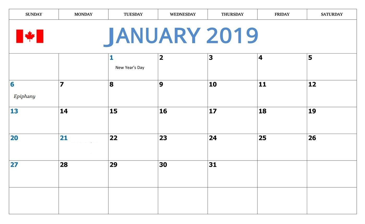 january 2019 calendar with canada holidays monthly calendar::January 2019 Calendar Canada
