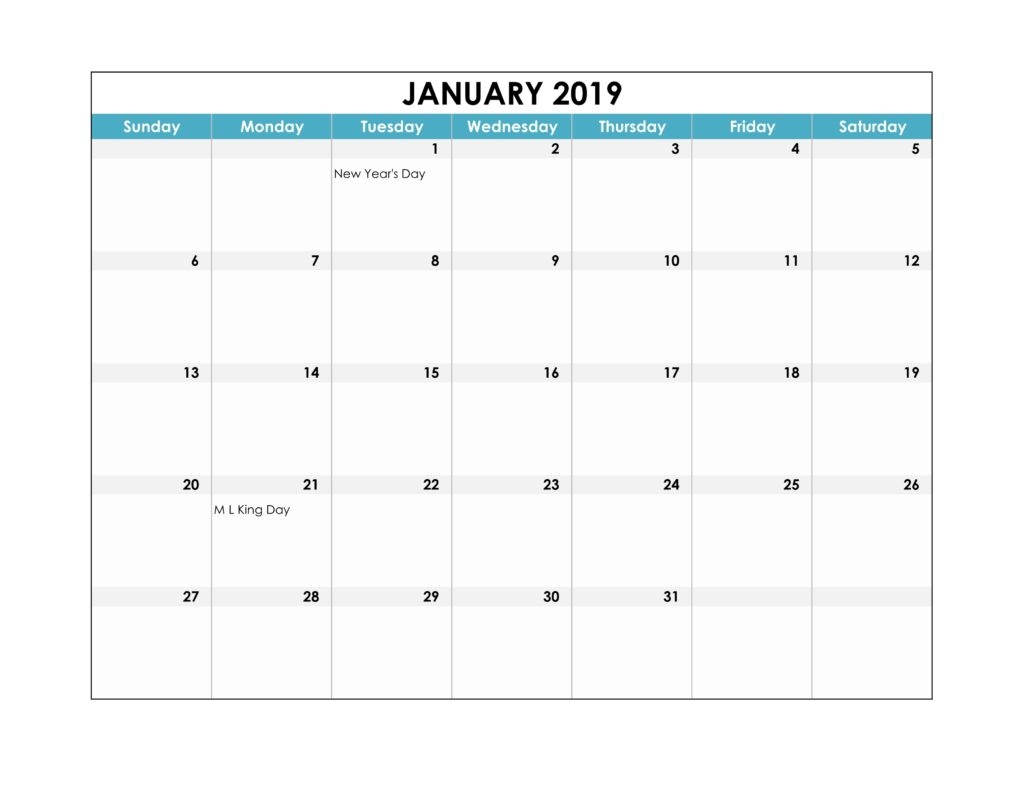 january 2019 calendar word pdf excel template free calendar::January 2019 Calendar Word