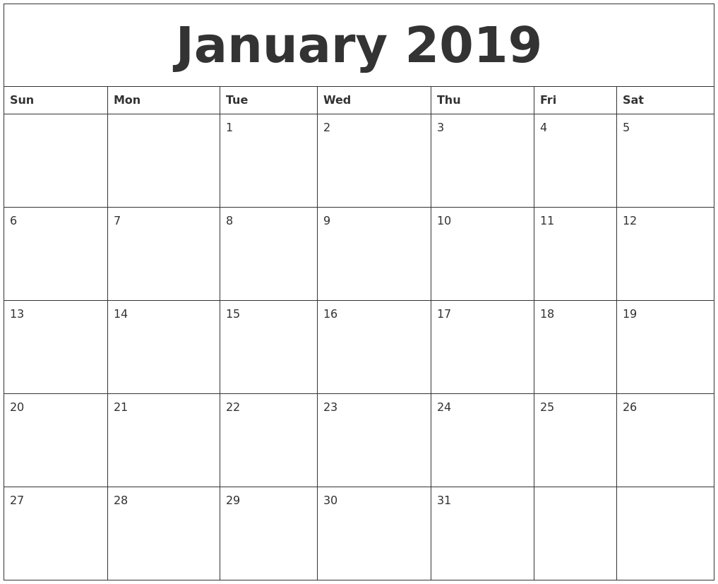 january 2019 calendar::January 2019 Calendar Printable Template