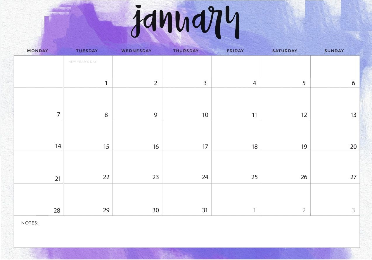 january 2019 desk calendar printable template planner::January 2019 Calendar Portrait