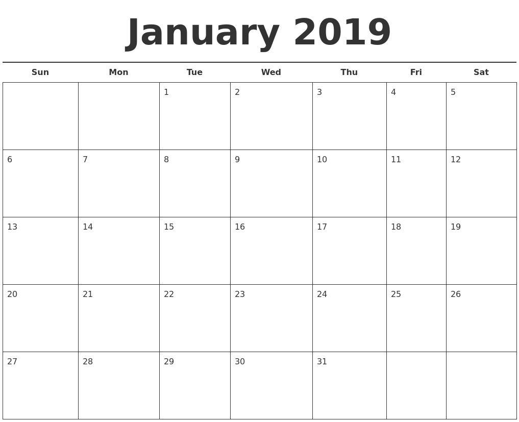 january 2019 free calendar template::Print January 2019 Calendar