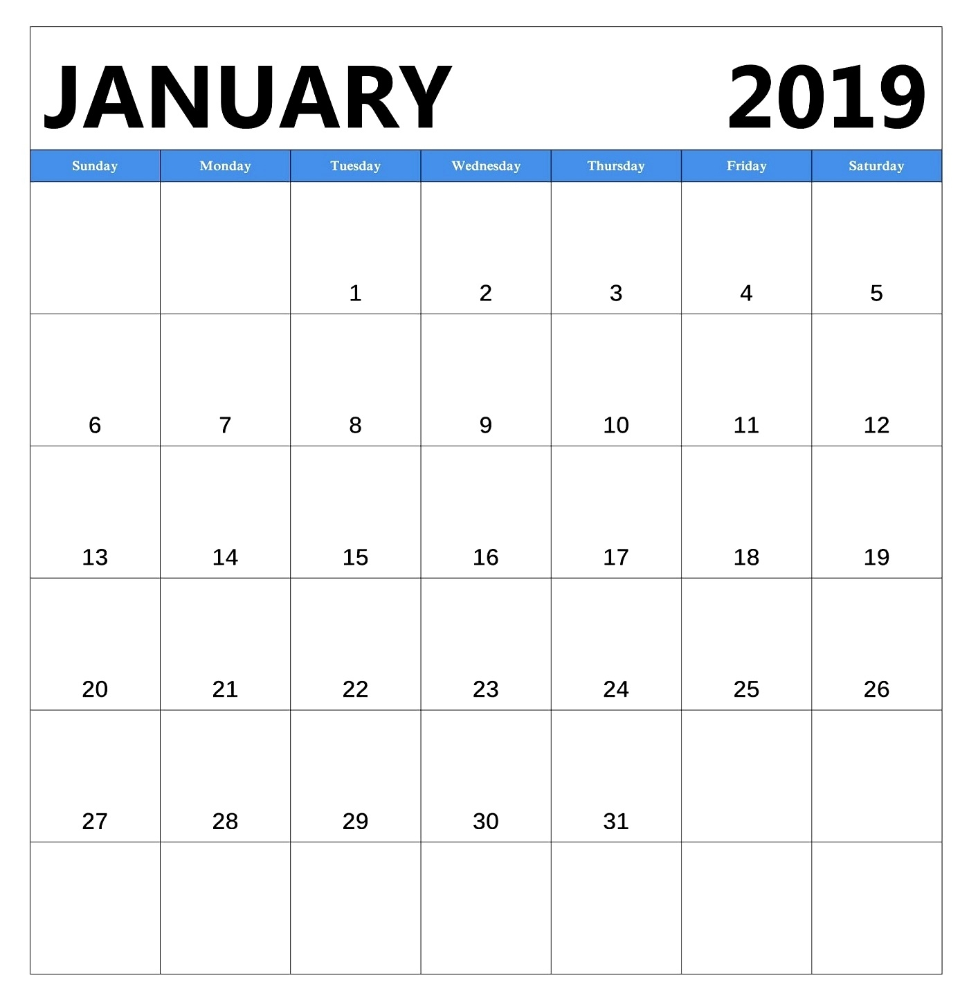 january 2019 free download calendar pdf excel word::January 2019 Calendar Printable Template