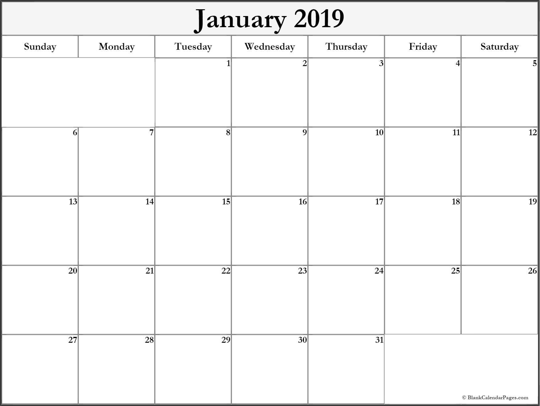 january 2019 free printable blank calendar collection::January 2019 Monthly Calendar