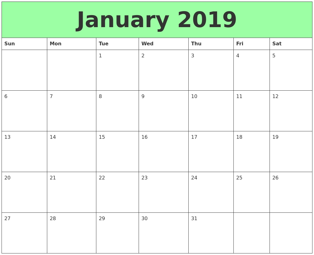 january 2019 landscape portrait calendar template free online::January 2019 Calendar Templates