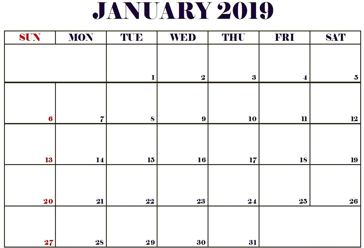 january 2019 monthly calendar best calendar printable pdf::January 2019 Monthly Calendar