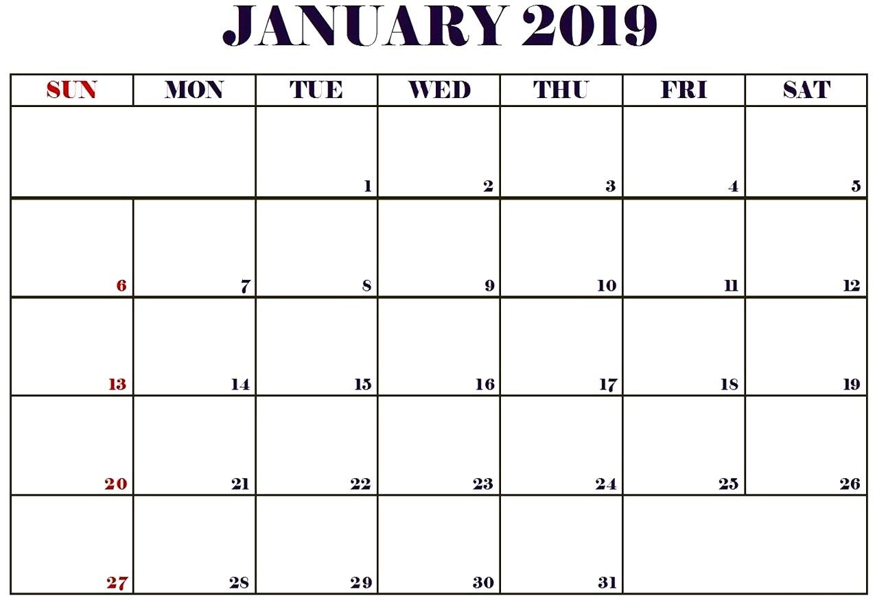 january 2019 monthly calendar best calendar printable pdf::January 2019 Monthly Calendar