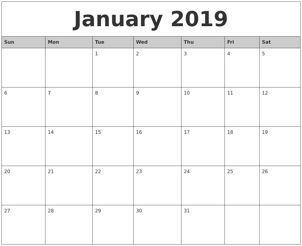 january 2019 monthly calendar printable::January 2019 Monthly Calendar
