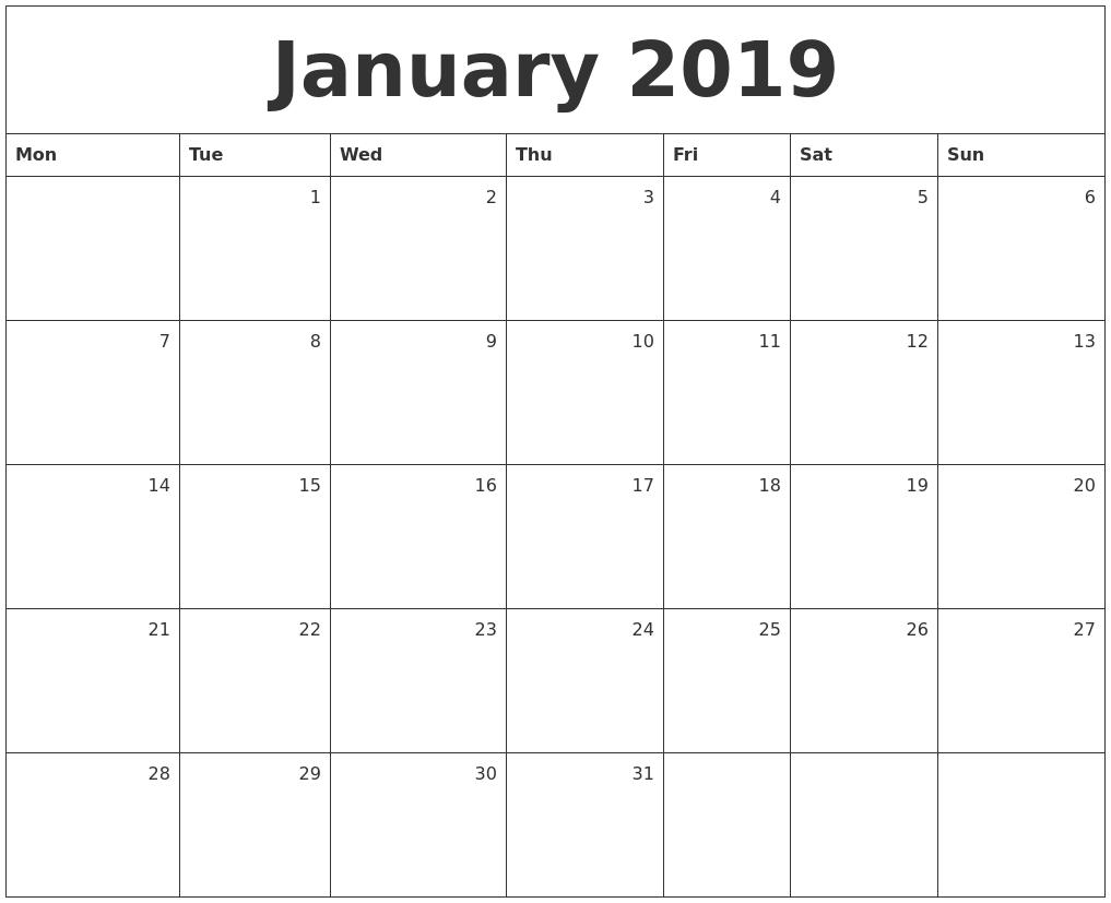 january 2019 monthly calendar::January 2019 Monthly Calendar