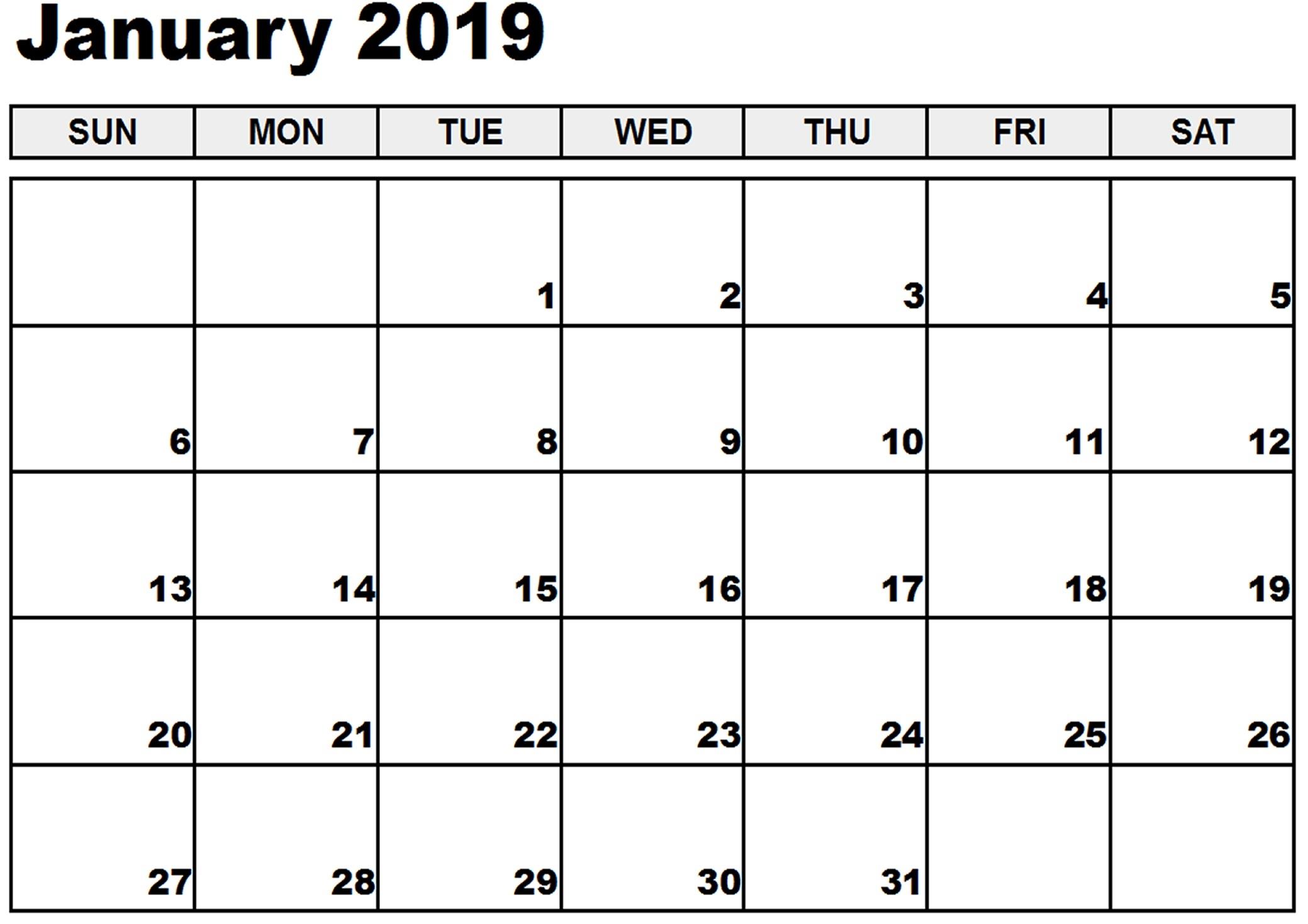 january 2019 printable calendar january 2019 calendar templates::January 2019 Calendar Printable Template USA UK Canada