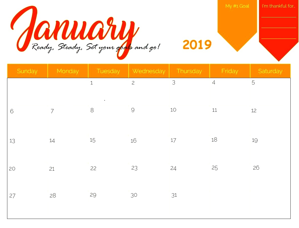 january 2019 printable calendar template print free calendar::January 2019 Calendar with Holidays Printable