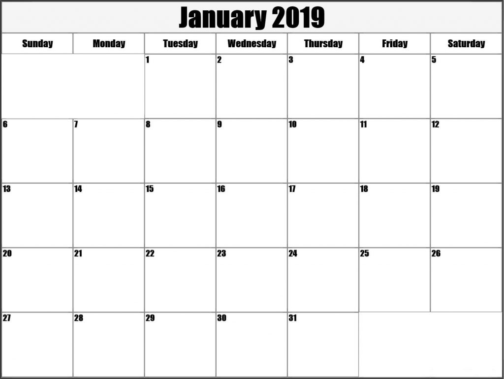 January 2019 Calendar Printable Template USA UK Canada