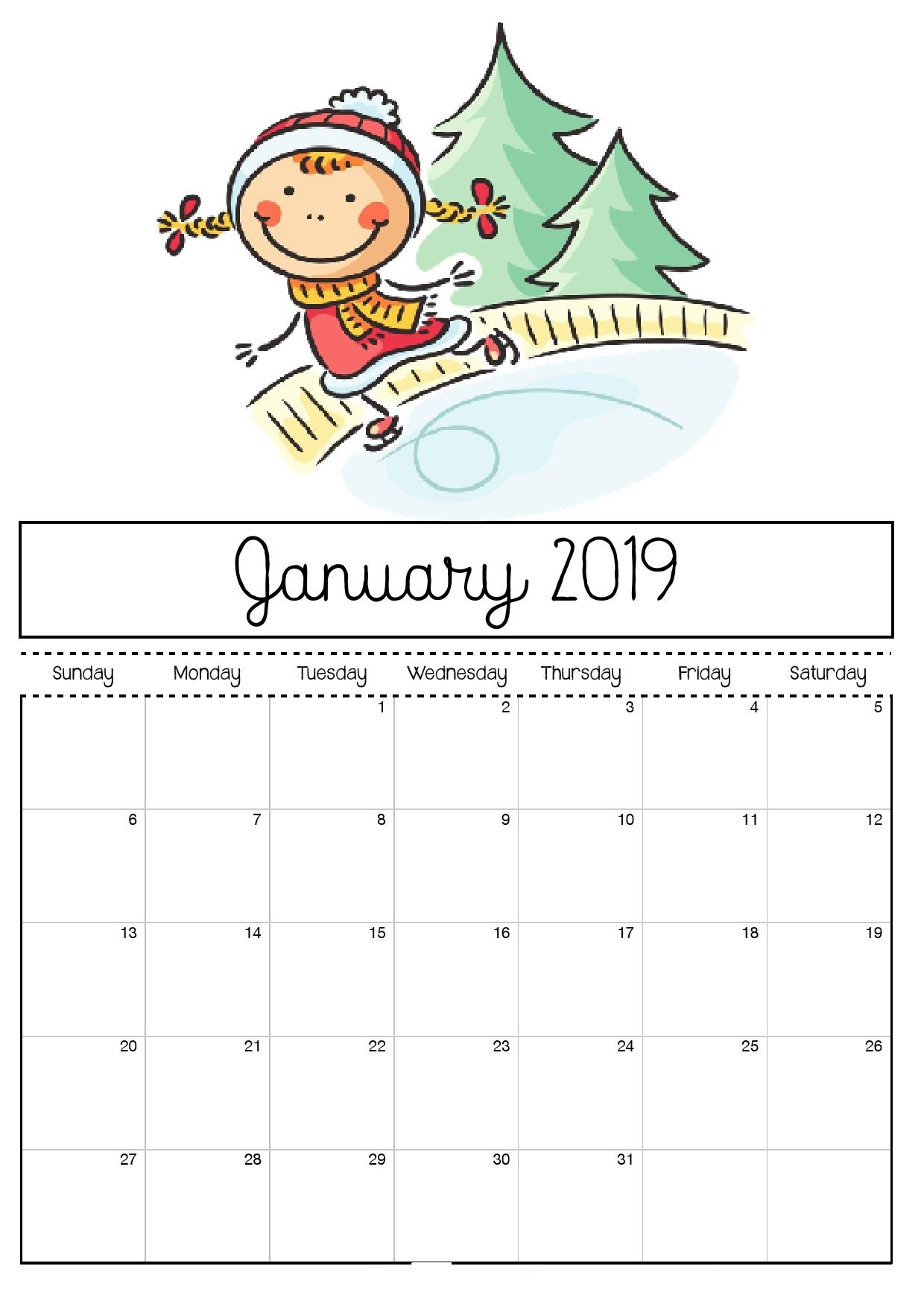 january month 2019 holiday calendar 2019 calendar templates printable::January 2019 Calendar with Holidays Printable