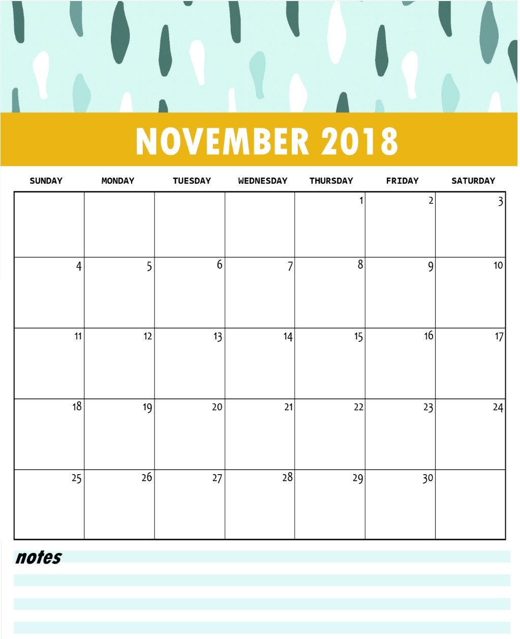 landscape portrait calendar template of november 2018 downlaod::November 2018 Calendar Printable Template