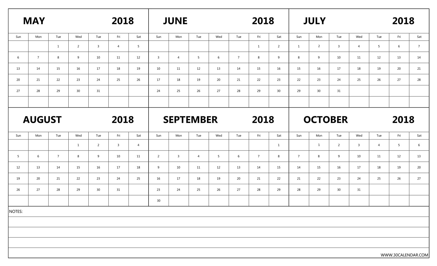may to october 2018 calendar printable six month template October 2018 Calendar with Notes erdferdf