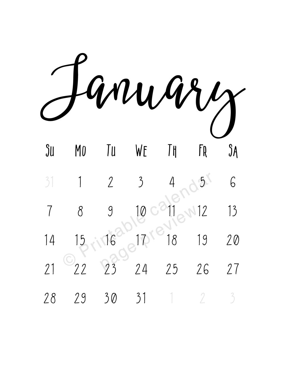 modern 2018 calendar printable monthly pages january 2018::Print January 2019 Calendar