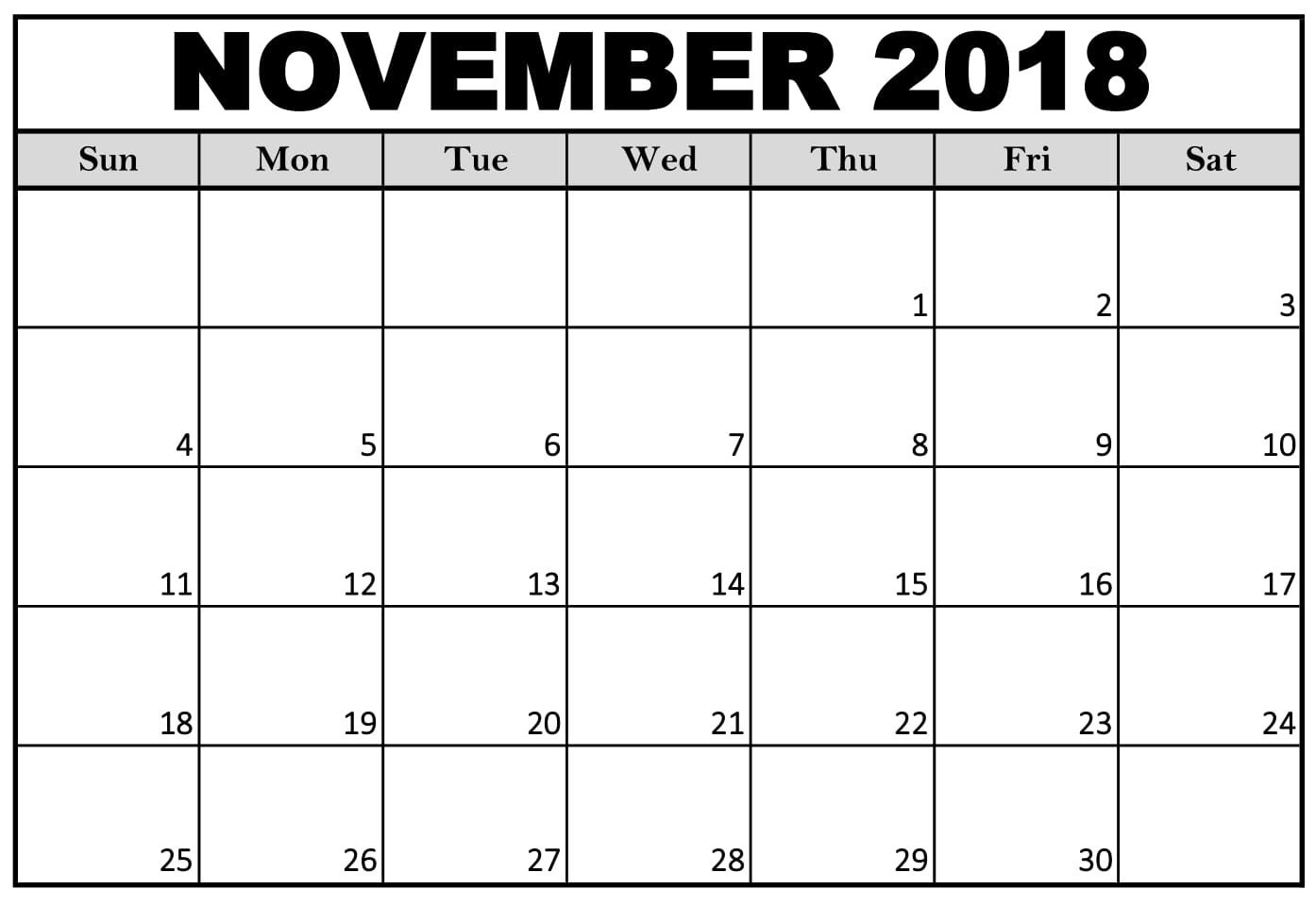 monthly november 2018 calendar template in microsoft word calendar November 2018 Calendar MS Word erdferdf